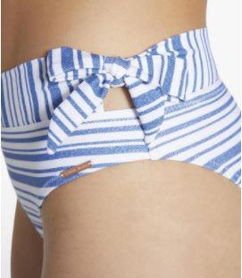 braga rayas azules fondo blanco, lazo lateral, cinturilla reversible