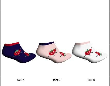calcetin invisible con frutas en rojo, sandias y fresas, Fondo blanco rosa y marino