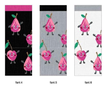calcetin invisible niña con frutas en rosa, pera y cereza. Fondo negro, gris y blanco