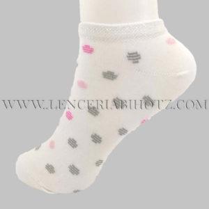 calcetin invisible niña blanco con motas en plateado y rosa