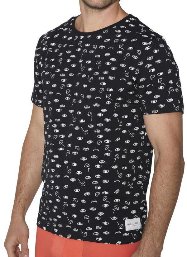 Camiseta negra manga corta con estampado de ojos en blanco