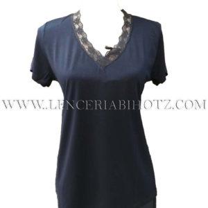 camiseta manga corta marino, con cuello en v con encaje