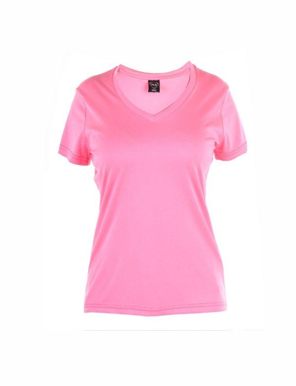 camiseta tecnica manga corta rosa fluor cuello pico