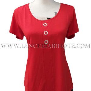 camiseta roja manga corta basica, cuello redondo amplio con tachuelas plateadas