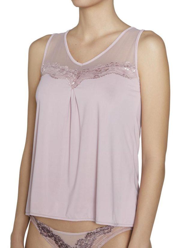 Camiseta lencera sin mangas encaje rosé