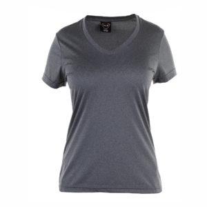 camiseta tecnica manga corta gris marengo cuello pico