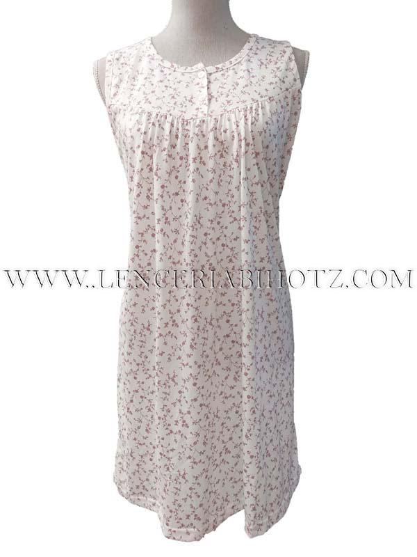 camison sin mangas blanco con estampado de ramitas en rosa, corte en el pecho drapeado con pinzas. Abertura en el cuello con botones