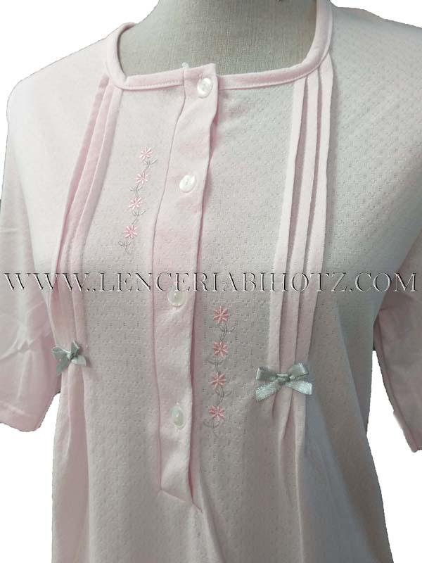 camsion rosa de manga corta con botoones en el cuello, Lorzas laterales