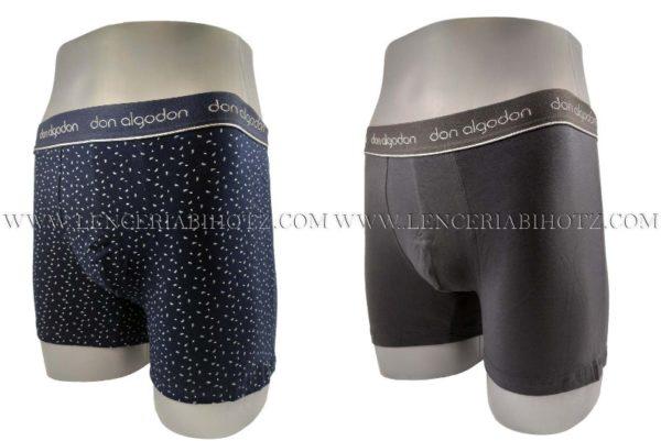 pack boxer fantasia y liso don algodon. marino y gris