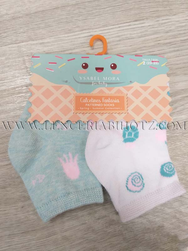 pack 2 calcetines niña animales marinos estampados, blanco/aguamarina