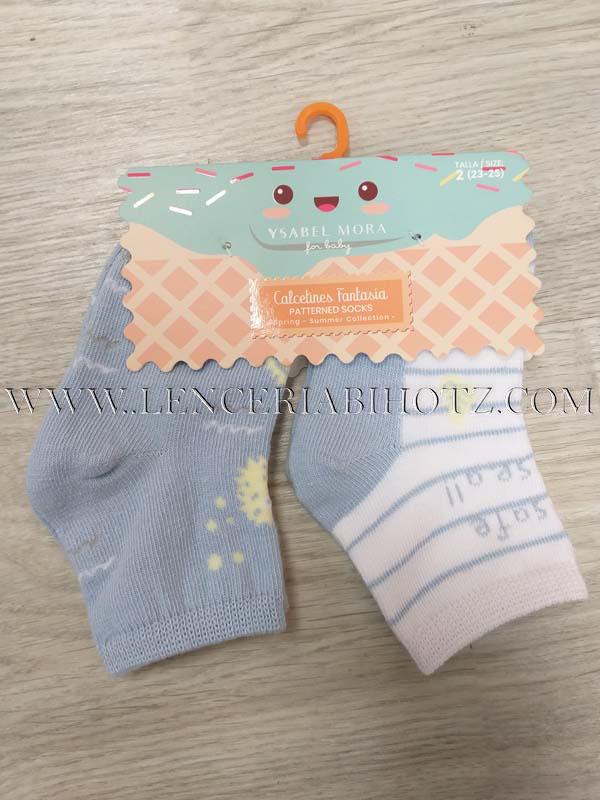 calcetines bebe lote, uno azul celeste y otro blanco con rayas, estampado letras