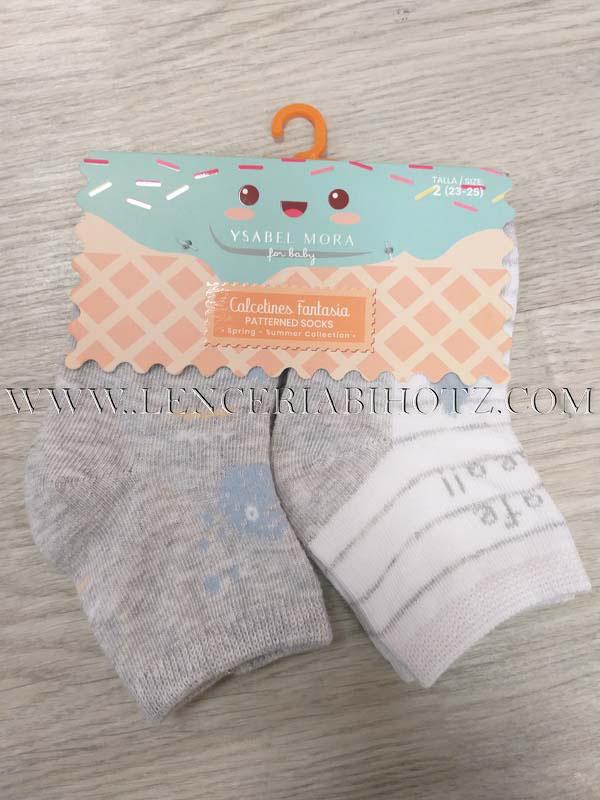 calcetines bebe lote, uno gris y otro blanco con rayas, estampado letras