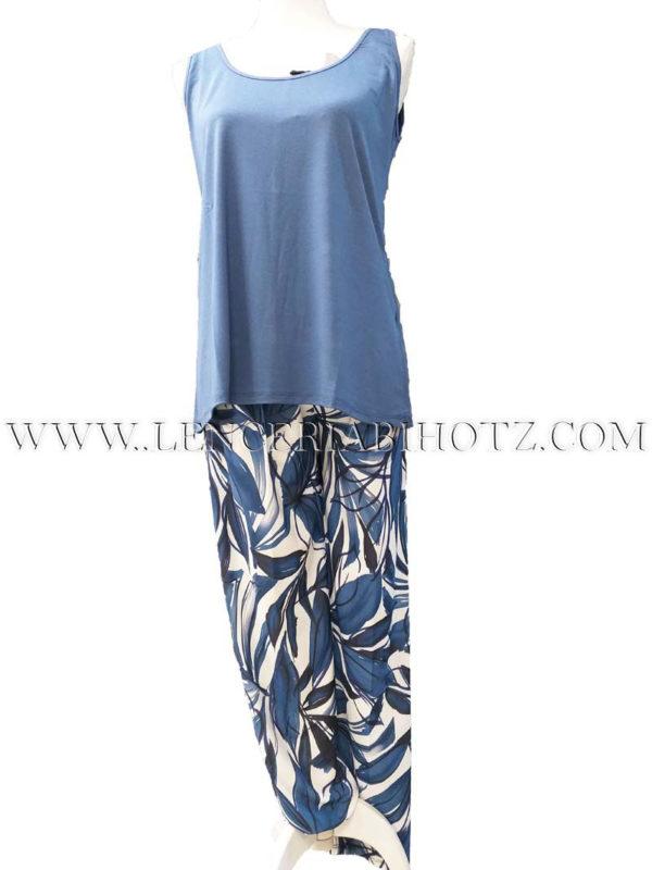 pantalon verano fino con goma y bolsillos crudo con ramas en marino