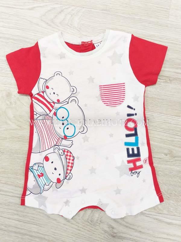 pijama ranita bebe manga corta blanco en la parte delantera y rojo en la trasera con corchetes. Estampado ositos y bolsillo