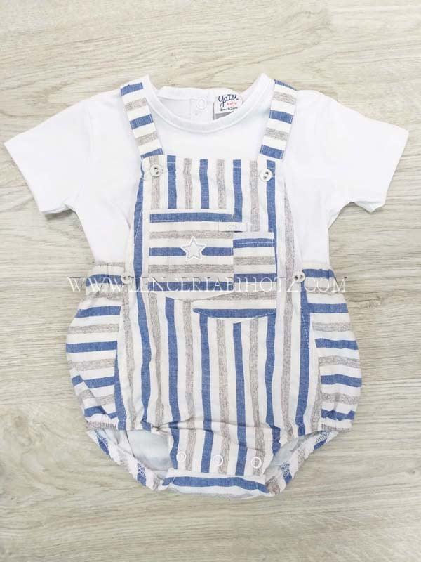 peto sin piernas y tirantes con rayas en gris y azul. Camiseta manga corta blanca