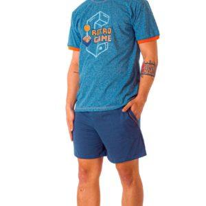 pijama verano, pantalon corto azulon, y camiseta manga corta azul jaspeado con banda en mangas naranja,