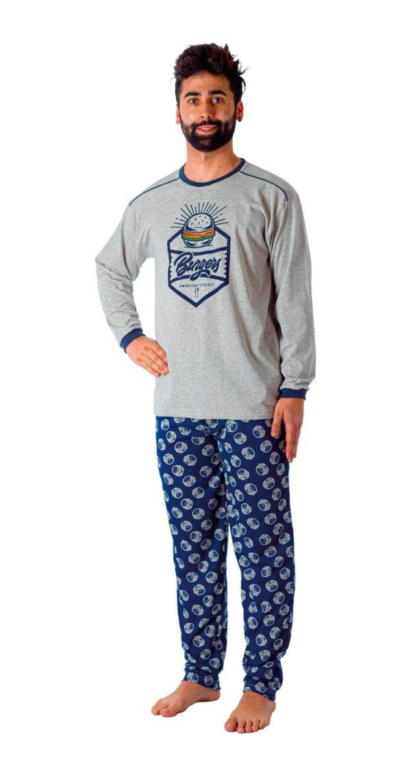 pijama largo fino algodon manga larga, con puños. Pantalon marino estampado hamburguesas. Camiseta gris con puños en azul