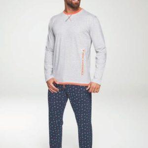 pijama largo,camiseta gris cuello naranja, pantalon marino fantasia