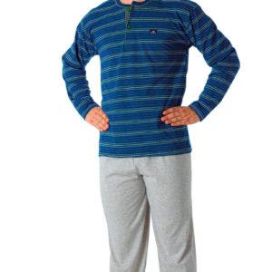 pijama manga larga,camiseta azul marino con rayas verdes y blancas, botones, pantalon gris jaspeado