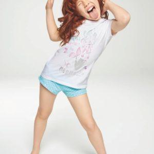 pijama niña camiseta manga corta blanca estampada sirena, pantalon corto azul escamas