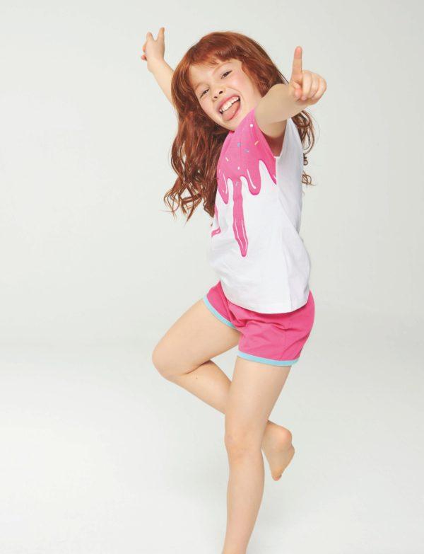 pijama niña magna corta y short, blanco y fuxia