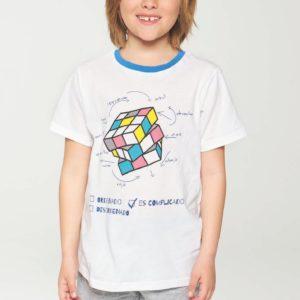 pijama niño manga corta camiseta blanca cubo rubik pantalon liso