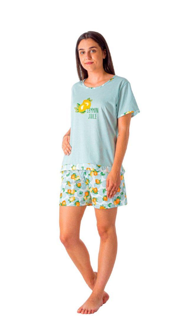 pijama mujer y niña. Pantalon estampado limones, camiseta azul manga corta