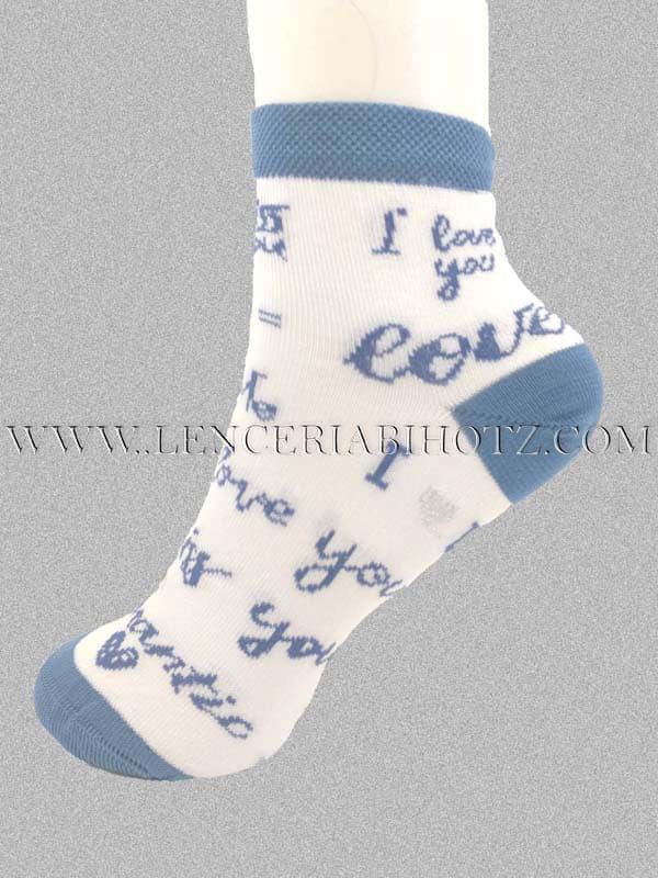 tobillero blanco con letras en azul. a juego con el puño, el talon y la puntera