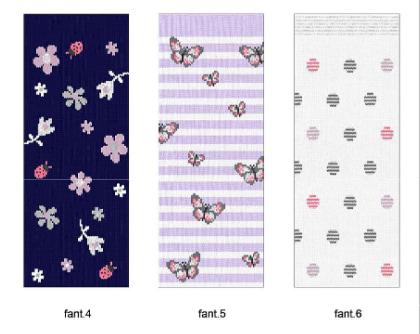 fantasia tobilleros niña con flores en fondo marino, mariposas sobre rayas lila y motas grises y rosas sobre fondo blanco