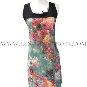 vestido tirantes anchos con negro combinado con estampado floral vivo fondo verde
