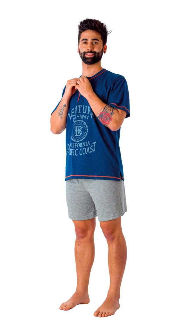 Pijama caballero manga corta de algodón azul