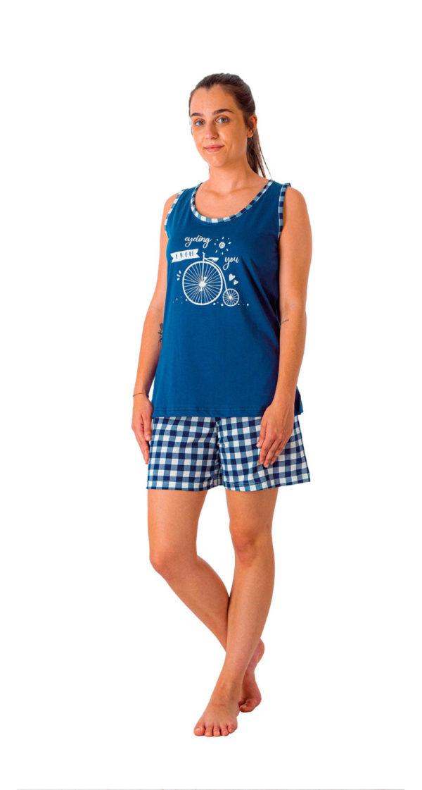 Pijama de tirantes algodon estampado bici y pantalon de cuadros