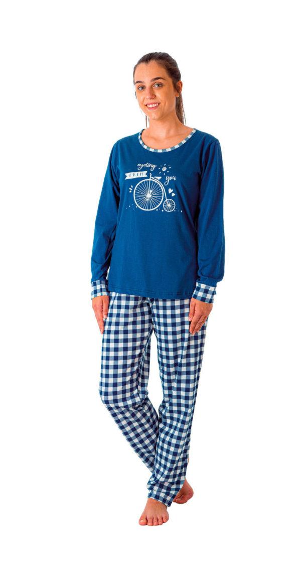Pijama manga larga fino algodón estampado bici y pantalón cuadros