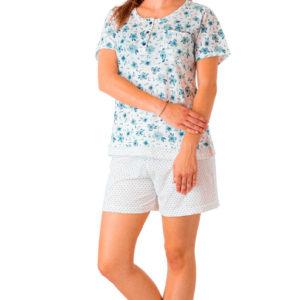 Pijama señora manga corta algodón azul