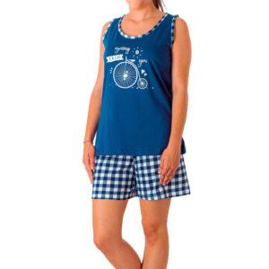 Pijama tirantes juvenil estampado bici y pantalón cuadros