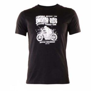Camiseta de caballero manga corta algodón estampada negra y moto en blanco
