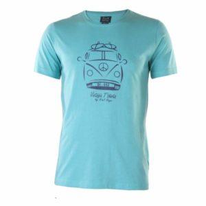 Camiseta manga corta caballero algodón verde agua estampada