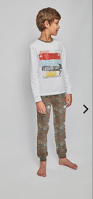 pijama algodon largo con pantalon gris marengo estampado con puños. Camiseta gris con estampado central en varios colores intensos