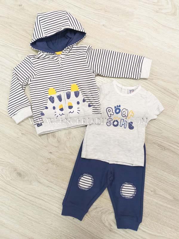 chandal algodon 3 piezas, sudadera cremallera rayas, camiseta blanca manga corta y pantalon marino rodilleras