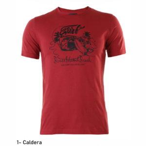 Camiseta manga corta algodón color caldera estampado de surf