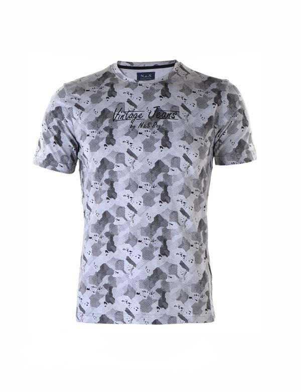 Camiseta hombre verano manga corta de caballero gris algodón