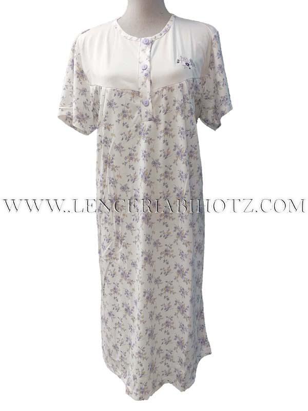 camison manga corta blanco con flores en morado. Cuello redondo conbotones. Canesu blanco con bordado lateral y pinzas