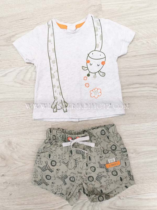 conjunto bebe verano bermuda kaki estampada. Camiseta manga corta gris jirafa