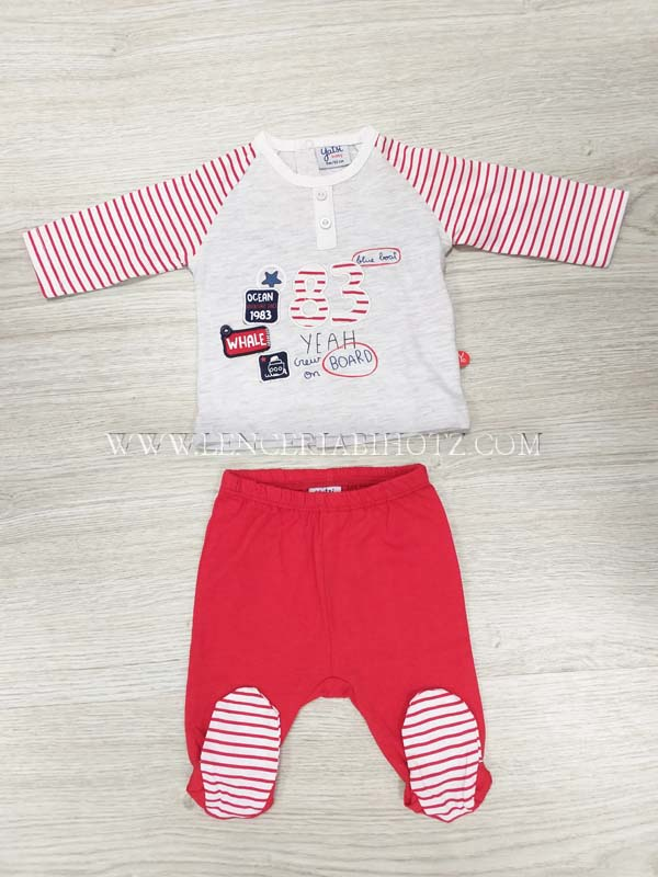 conjunto polaina y camiseta manga larga con mangas rayadas rojas y cuerpo gris con bordados. Polaina roja