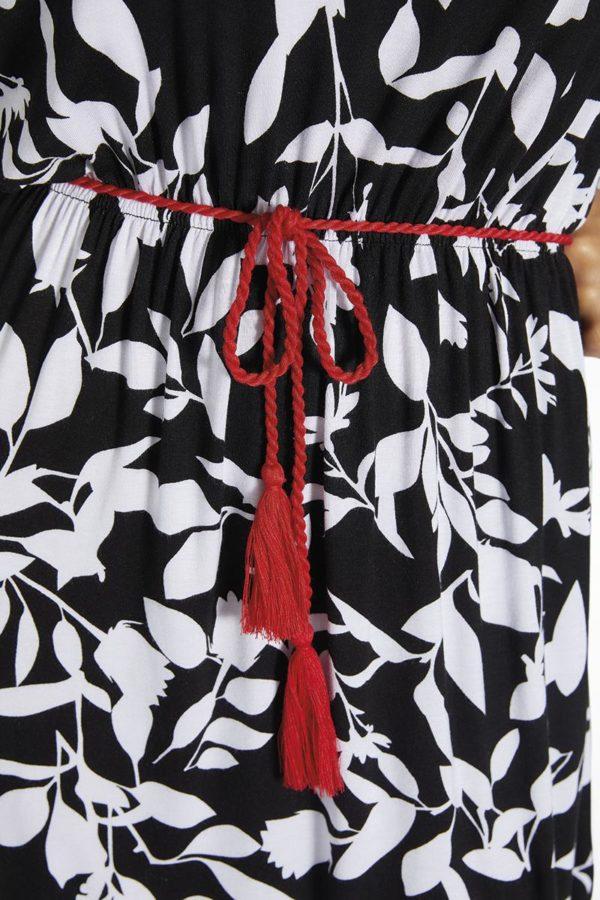 estampado hojas blancas sobre fondo negro estampado vestido verano