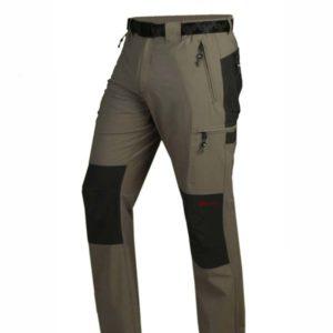 pantalon trekking fino con rodilleras, bolsillos cremallera laterales traseros y muslo. Gris