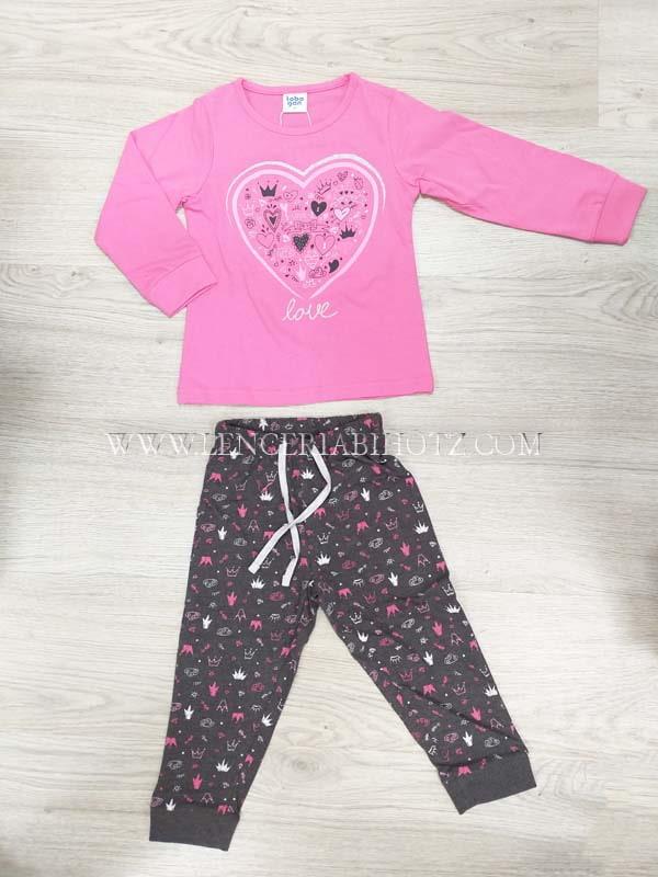 pijama manga larga algodo camiseta puños rosa corazon. Pantalon gris marengo puños estampado