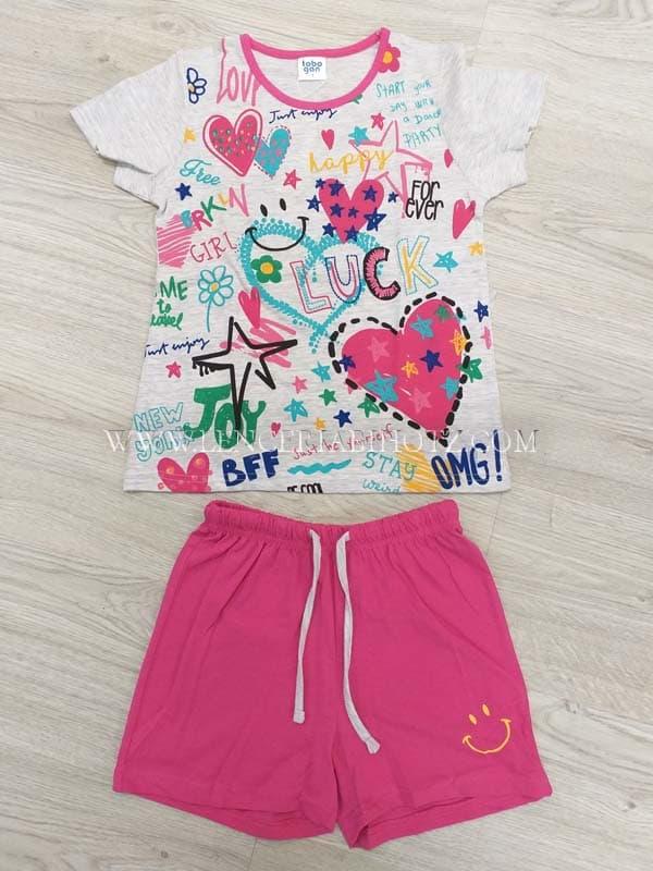 pijama niña pantalon corto fuxia y camiseta gris estampado colorido