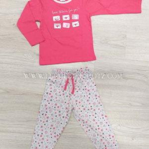 pijama niña largo algodon camiseta fuxia y pantalon gris estampado con puños