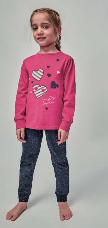 pijama niña algodon largo con puños. Camiseta fuxia corazones bordados, pantalon largo marino con lunares y cordon blanco